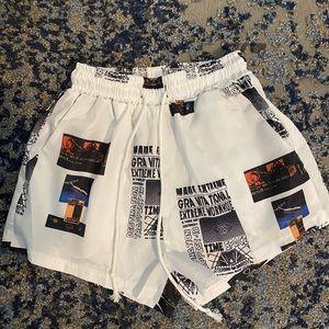 newspaper print SHEIN shorts.